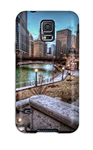 9457068K18109477 Case Cover Protector Specially Made For Galaxy S5 Chicago River Background