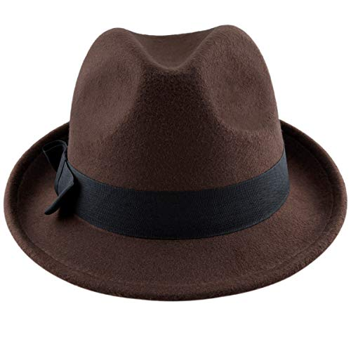 Samtree Fedora Hats for Women,Winter Roll-up Brim Trilby Jazz Cap(Brown)]()