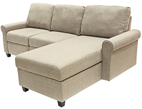 Serta Copenhagen Reclining Sectional with Right Storage Chaise - Dusk Beige by Serta