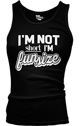 Tcombo I'm Not Short I'm Fun Size - Funny Girls/Juniors Tank Top T-shirt (Small, - Junior Small Size