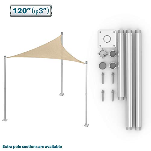 Coarbor Sun Shade Sail Canopy Support Stand Pole Kit for Awning Installation 10' feet (120'') Inch High Free Standing Post Replacement Pole Fence Post Rigid Heavy Duty Steel
