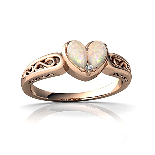 14kt Rose Gold Opal and Diamond 5x3mm Pear filligree Heart Ring - Size 9
