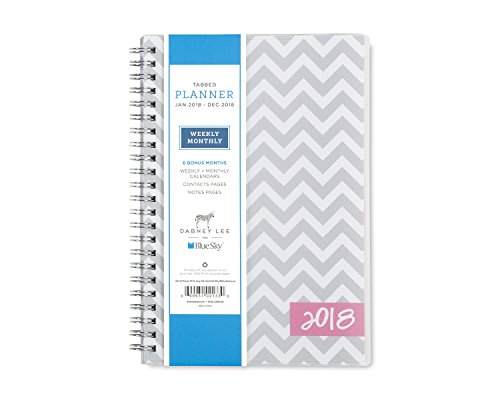 "Blue Sky 2018 Weekly & Monthly Planner, Twin-Wire Bonding, 5"" x 8"", Gray Ollie"