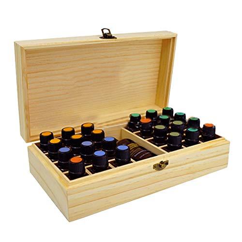 (Trycooling Wooden 25 Slots Essential Oil Storage Box Oil Bottles Organizer Case Solution Fits 5ml,10ml,15ml Bottles)
