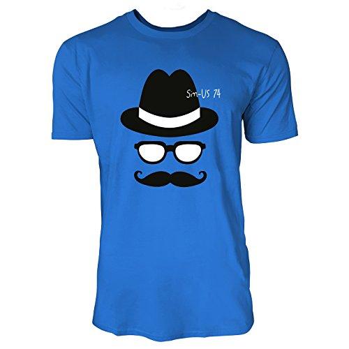 SINUS ART ® Mann mit Melone, Brille und Schnurrbart Herren T-Shirts in Blau Fun Shirt mit tollen Aufdruck
