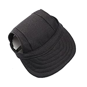 WINOMO Pet Dog Sports Hat Pet Dog Oxford Fabric Hat Sports Baseball Cap with Ear Holes for Small Dogs - Size S (Black)