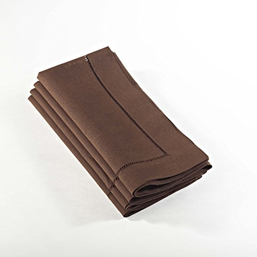 Handmade Basic Hemstitch Napkins, 20×20, 4-Piece Set, Various Colors (Chocolate)