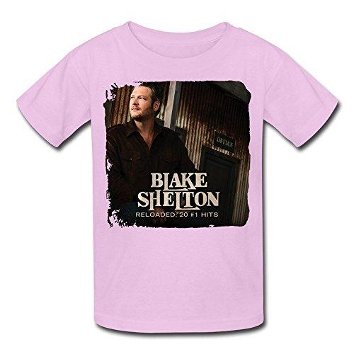SALA Kid's Blake Shelton Reloaded 20 #1's 2015 Poster T-shirts M Pink