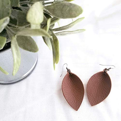(Handmade Leather Leaf Earrings, Brown Earrings, Statement Earrings, Joanna Gaines, Leaf Earrings, Fashion Earrings for Women, Dangle Drop Earrings, Boho, Bohemian Jewelry)