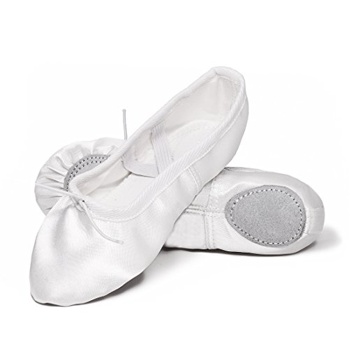 GetMine Kids Girls Satin Ballet Dance Shoes Split-Sole Practice Gymnastics Ballet Slippers 13 M US Little Kid White