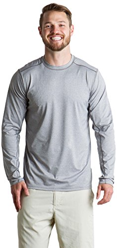 ExOfficio Men's Sol Cool Sun Relaxed Fit Long-Sleeve Crewneck Shirt, Cement, X-Large