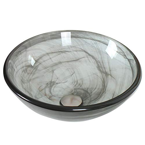 ELITE Bathroom Glass Vessel Sink with Black Swirls Textures for ()