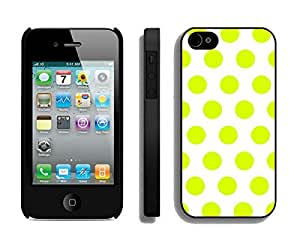 Nice Apple Iphone 4s Black Case Durable Soft Silicone TPU Polka Dot White and Turquoise Speck Spot Mobile Phone Case Cover for Iphone 4