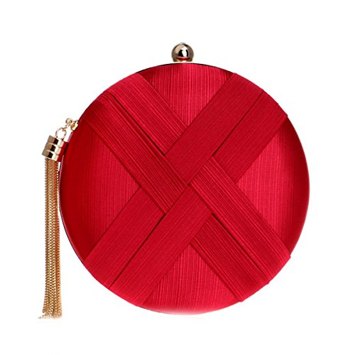 Women Ladies Red Flada bags with Tassel and Round Handbags Evening Pendant Satin Black Wedding Clutches 1fACx