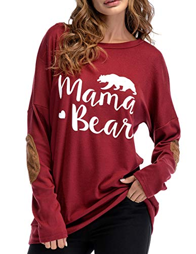 ZENUTA Casual Long Sleeve Elbow Patch Blouse Shirt for Women Crewneck  Letter Print Tops e5ba6301c