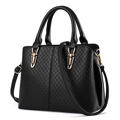 JHVYF Casual Top Handle Handbag Purse Tote Pu Leather Shoulder Bags Women T Black