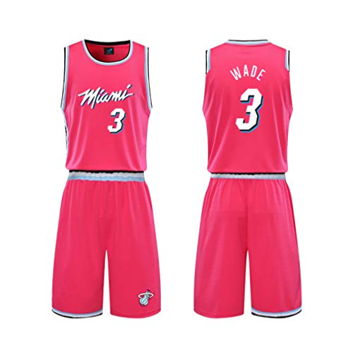 DUBAOBAO Basketball Player No. 3 Youth/Child Jersey, Adult t-Shirt Jersey White Pink Black 3 Colors,Pink,L#165to170CM