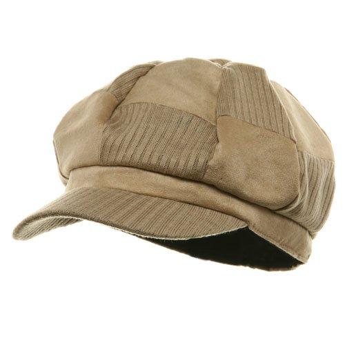 Suede Corduroy Checker Newsboy Cap-Camel OSFM