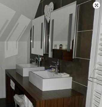 quott8 ip44quot miroir lumineux avec une prise rasoir incorpore evalu ip44 - Hauteur Miroir Salle De Bain