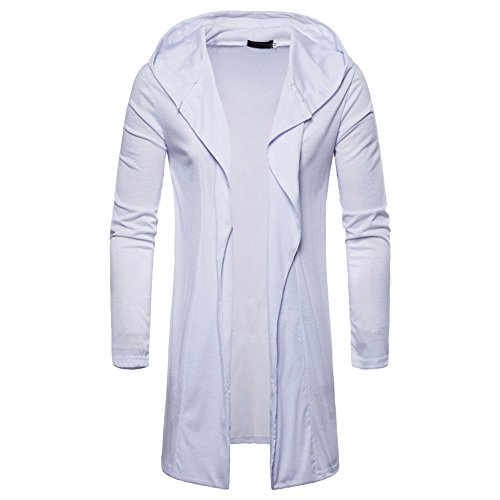 Mens Long Sleeve Outwear Hot Fashion Mens Hooded Solid Trench Coat Jacket Cardigan Long Sleeve Outwear Blouse By WEUIE(XL, White) by WEUIE