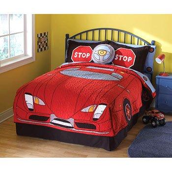 Amazon.com: Red Race Car - 4pc Comforter Set - Boys Full Size ...