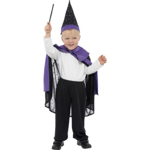 Wizard Cape and Hat Black/Purple Disc Large Age 10-12 32685L