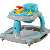 Dream On Me 2 in 1 Baby Tunes Musical Activity Walker and Rocker, Gray