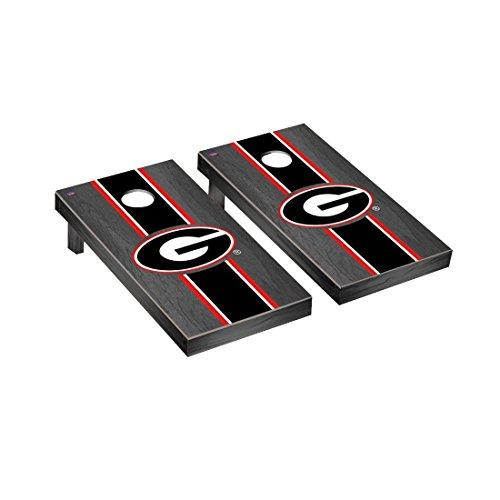 Victory Tailgate Georgia Bulldogs Regulation Cornhole Game Set Onyx Stained Stripe Version (Bulldogs Tailgate)
