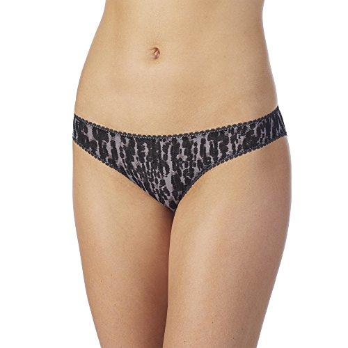 Bikini Hip Mesh (OnGossamer Women's Next to Nothing Printed Mesh Hip Bikini Panty, Midnight Mood, L)