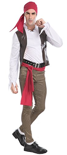 Sea Captain Pirate Costumes (Cohaco Men's Sea Captain Pirate Costume (Rogue Style : Large))