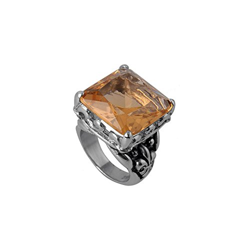 rs Stainless Steel 4mm Emerald Cut Champagne Cubic Zirconia Cocktail Ring - Size 5 ()