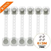 Nobrand Baby Safety Locks, Improved Dual Action Lock Design, Reusable with Adjustable Length Strap for Cabinets, Drawers, Fridges, Closet, Doors, Windows, Ovens (6, 1)