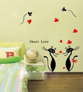 Vinilo decorativo pegatina pared, cristal, puerta (Varios colores a elegir)- gatos corazones: Amazon.es: Hogar