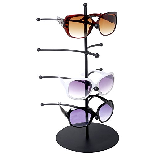 Eyeglass Display Rack, 4 Pair Black Metal Sunglasses Holder Collections Retail Counter Stand