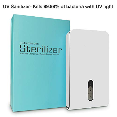 KMESOYI UV Phone Sterilizer, Smartphone Sanitizer for iPhone X,iPhone 8, Samsung Galaxy, Android Device, Pacifiers, Smartwatches, Headphones, Keys-White