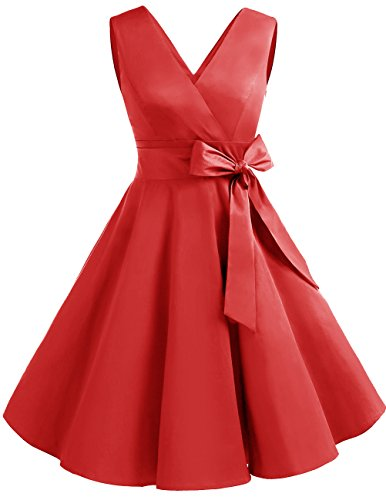 DRESSTELLS Vintage 1950s Solid Color V Neck Retro Swing Dress with Bow Tie Red 3XL