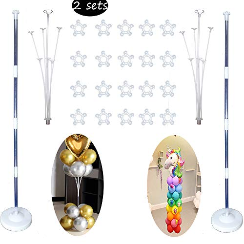 Balloon Columns Kit (Decojoy Balloon Column Kit, 2 Sets Balloon Stand Holder and Centerpieces for Floor or Table 2IN1, Base and Pole with 20PCS Rings for Party Supplies, 5FT Tall)