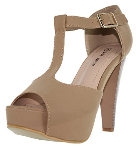 Top Moda Table-1 Women's peep toe platform chunky heel closed back buckle T-strap nubuck pumps Tan 8 (Tan Peep Toe)