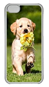 Apple iPhone 5C Case Cover - Puppy With Flower Custom PC Case Cover For iPhone 5C - Tranparent
