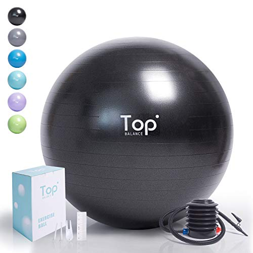 Top Balance Anti-Burst Exercise Ball (Black,65 cm), Extra Thick Construction Supports up to 1000 lbs, Used for Fitness/Yoga/Ball Chair/Birthing with Easy to Inflate Foot Pump (Office & Home & Gym) (Chair Inflate)