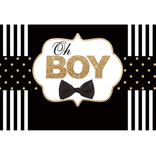 Oh Boy Stripes - DORCEV 7x5ft OH Boy Backdrop Boys Birthday Party Boys Baby Shower Gender Reveal Party Background Black and White Stripes Black Tie Birthday Party Cake Table Banner Kids Birthday Photo Studio Props