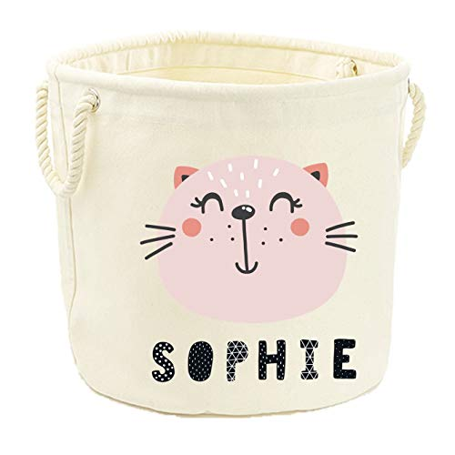 Personalized Name Animal Canvas Toy Storage Tub (Cat, M (40x40cm))