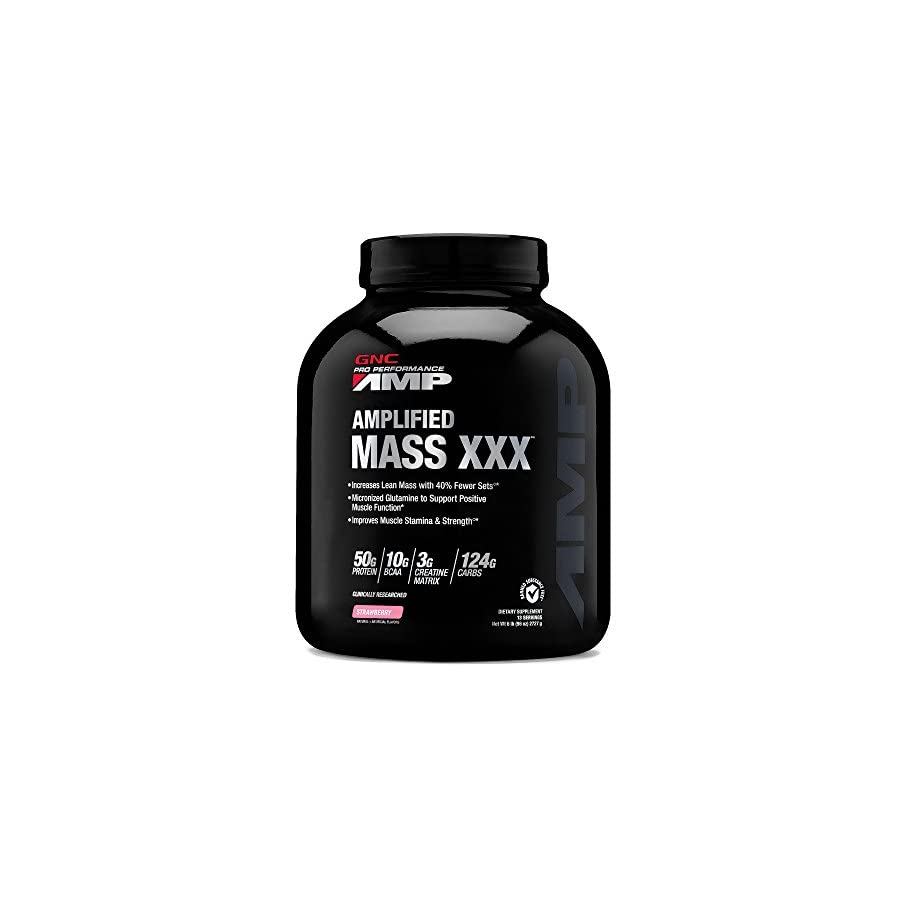 GNC Pro Performance AMP Amplified Mass XXX Strawberry 6 lbs