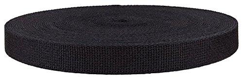 QIANF 1 Inch Black Heavy Cotton Webbing, 10 Yards ()