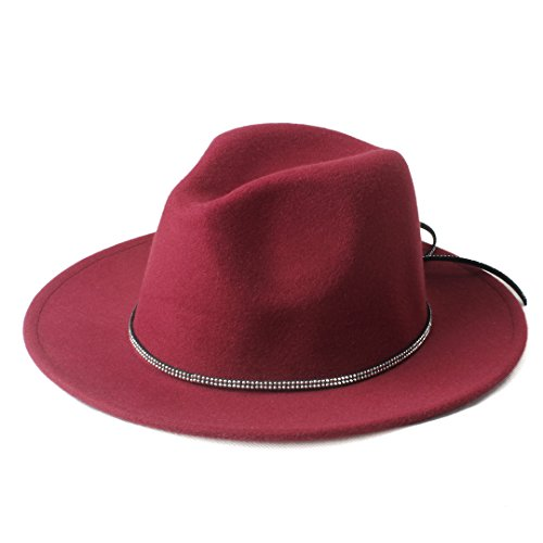 Douhuayu Fashion Wool Jazz Church Cap Panama Top Sun Hat Chapeu Feminino Fedora Hat with Wide Brim and Shining Band (Color : 2, Size : 57-58CM) by Douhuayu
