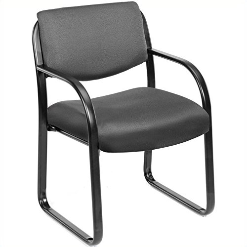 Scranton & Co Fabric Sled Base Guest Chair with Arms in Gray by Scranton & Co