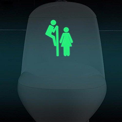 Bluelover Rimovibile Uomo Donna Divertente Modello Incandescente WC Bagno Parete Sticker Porta WC Decor – Un Prezzi