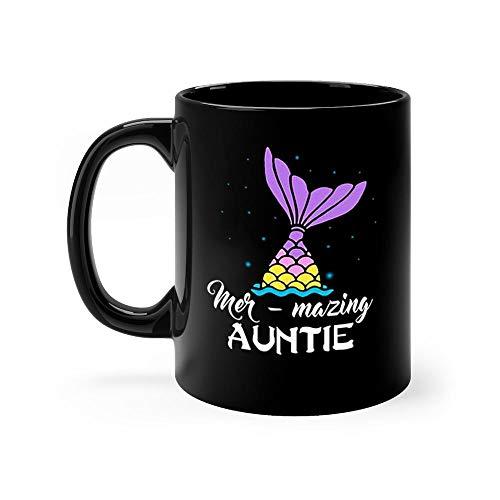 Aunt Mer Mazing 11 oz Black Ceramic Unique Design Coffee Tea Mug Funny Auntie Gift Mug For Mom Women]()