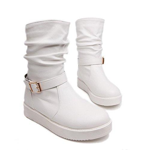 VogueZone009 Damen Rein PU Mittler Absatz Ziehen auf Rund Zehe Stiefel Weiß
