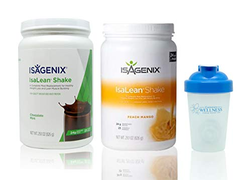 Isagenix Isalean Chocolate Mint Shake & Peach Mango Shake Combo 29.1oz Canisters (2 Pack) (Isalean Meal Replacement Shake)
